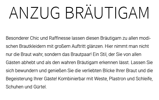 Hochzeitsanzug aus  Weißbach